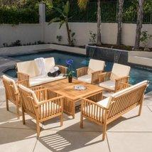 Home Garden Patio 8 Piece Outdoor Wood Sofa Conversation Set - $989.99