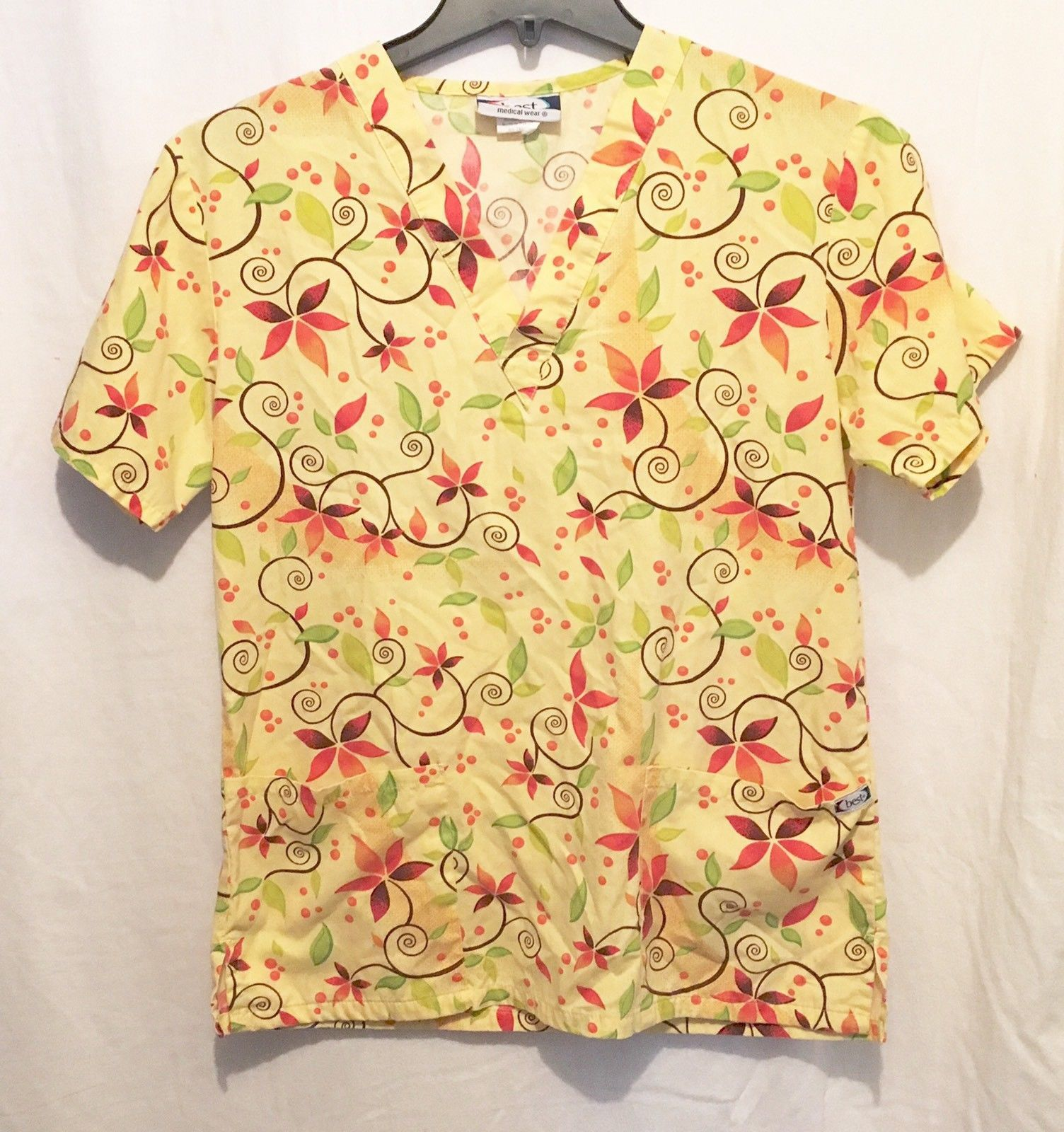 80e58fd665c S l1600. S l1600. Previous. Best Medical Wear XS Scrub Top Yellow Floral  Short Sleeve V Neck Womens B2