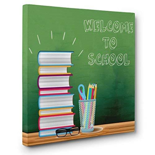 Primary image for Welcome To School Green Board CANVAS Wall Art Home Décor