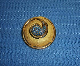 TRIFARI Atomic Pin Brooch Blue Crystals Goldtone Mid Century Costume Jewelry - $23.74