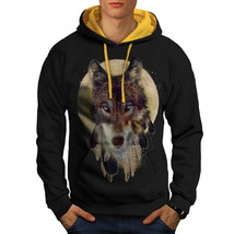 Wolf Dream Catcher Sweatshirt Hoody Wild Tribal Men Contrast Hoodie - $23.99+