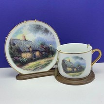 THOMAS KINKADE CUP SAUCER COLLECTOR PLATE moonlight cottage teleflora co... - $39.60