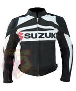 SUZUKI GSX BLACK MOTORBIKE COWHIDE LEATHER MOTORCYCLE BIKER JACKET - $194.99