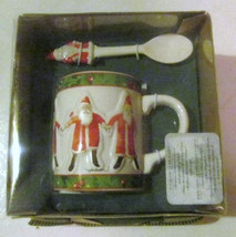 Hallmark Hand painted Santa Mug & Spoon Collectible Ceramic Set - $20.99