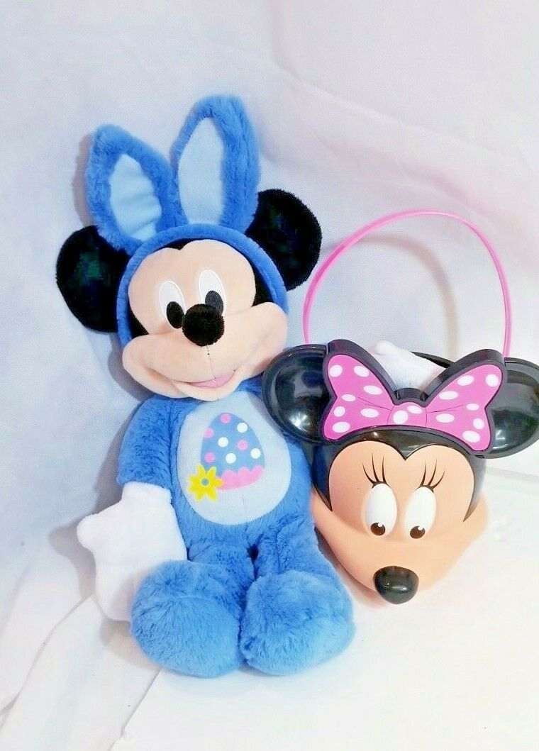 Primary image for Disney Mickey blue bunny+ pink Minnie Easter Spring Bundle basket soft plush toy