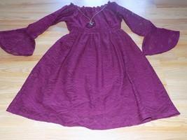 Girls Size Medium 10-12 Star Ride Burgundy Maroon Wine Lace Dress w Neck... - $22.00