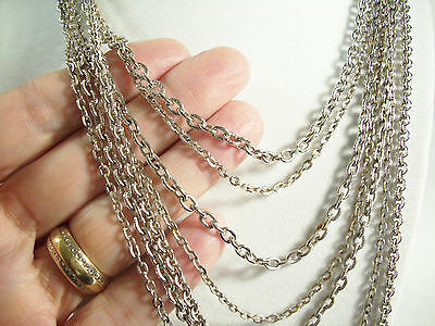AVON Silver Plated 7 Strand CABLE Chain Necklace Graduated Lengths Vintag Estate