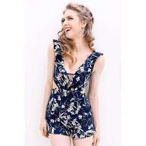 Backless Boho Print Plunging Neckline Women Rompers - $32.98