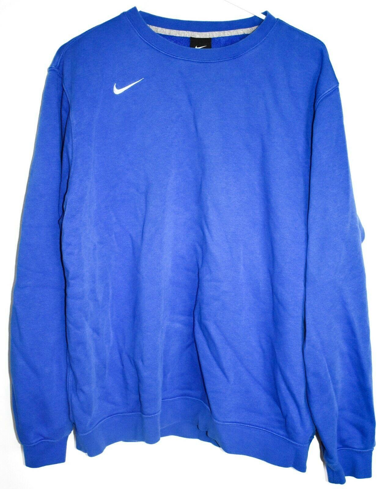 Nike Men's Blue Pullover Crew Neck Club Fleece Sweatshirt Embroidered Swoosh L