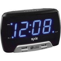 SXE SXE86046 Digital Alarm Clock with 2 USB Fast-Charging Ports - $32.35