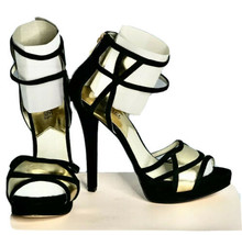 Michael Kors Black and Gold Suede 5 inch heel 1inch Platform Heels  Size... - $39.60