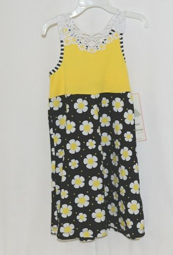 Rare Editions Girls Cotton Lace Sleeves Back Yellow Black Flowers Size 5