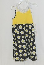 Rare Editions Girls Cotton Lace Sleeves Back Yellow Black Flowers Size 5 image 1