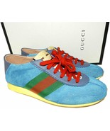 $750 Gucci Suede Sneakers Web  Blue 8 - 9 Lace Up Flat Trainer Athletic ... - $329.00
