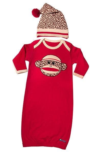 0-6 Months Sock Monkey Gown & Cap Set