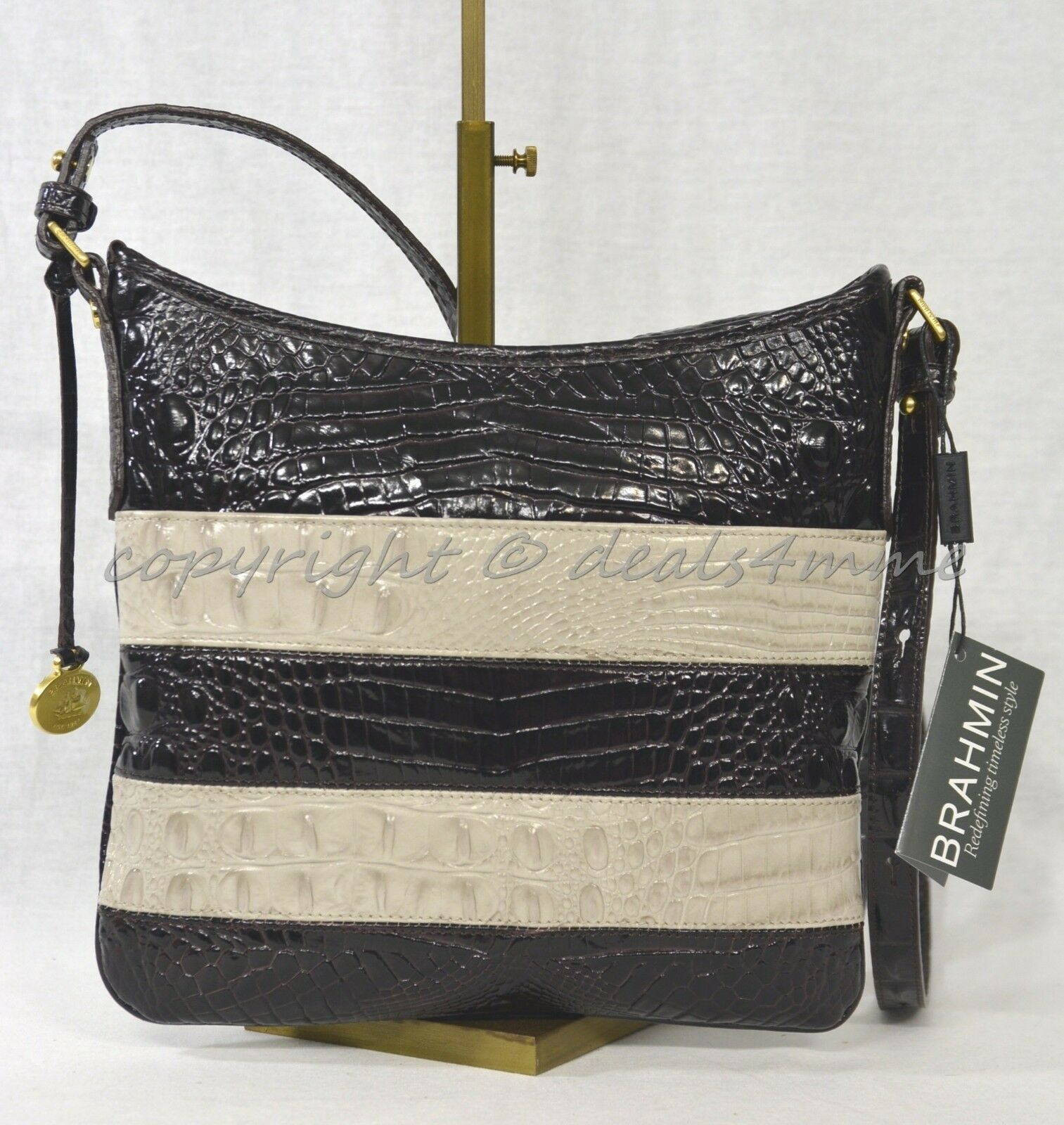 NWT Brahmin Jody Striped Cross-Body/Shoulder Bag in Angora Vineyard image 4