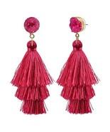 CAT EYE JEWELS Colorful Layered Tassel Earrings Bohemian Dangle Drop Dru... - $10.42