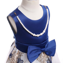 Flower Girls Dress Navy Blue Lace  Wedding Girls Pageant Gowns Ball Gowns Beaded image 3