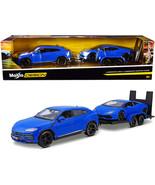 Lamborghini Urus Blue with Lamborghini Huracan Coupe Blue and Flatbed Trailer Se - $71.80