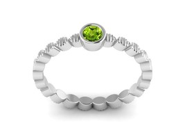 Lovely Mini Peridot Solid Gemstone 925 Sterling Silver Women Ring Sz 6 S... - $12.99