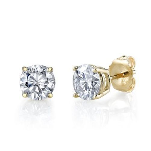 1.75CT Round Solid 14K Yellow Gold Brilliant Cut Basket PushBack Stud Earrings