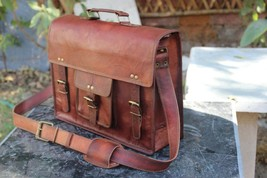 Leather computer bag men shoulder briefcase women mens laptop satchel brown bags image 3