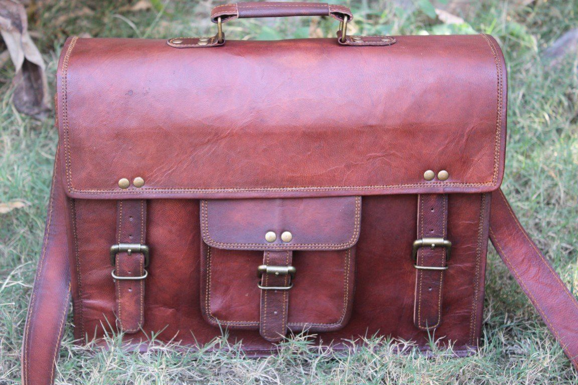 Leather computer bag men shoulder briefcase women mens laptop satchel brown bags image 4