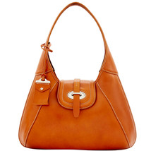 Dooney & Bourke Florentine Natural Leather Flap Closure Front Stitch Hobo - $819.99