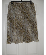 Jones New York New Montauk Brown/Rum Multi Sheer Printed Pleated Skirt P... - $14.99
