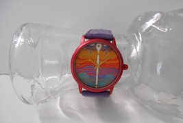 Signed Laurel Burch~Multi Color Rainbow Cats Watch Face w/Purple Leather... - $48.00
