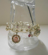 Vintage 1970's~Musical Theme in Pinks~Silver Plated Chain Link Charm Bracelet - $10.00