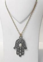 """New w/o Tag~Antiqued Silver Hamsa/Hand/Luck Pendant~20""""-23"""" Chain Link N... - $18.00"""