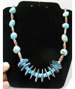 """Hand Crafted~Turquoise & Copper Color Multi-Size Beads~27"""" Necklace - $15.00"""