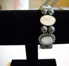 Hand-Crafted~Unique~Silver/Gray/Black/White~Stretchable Beaded Band~Watch - $18.00