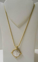 """New w/o Tags~3/4"""" Rd Gold Pendant w/Silver Cross~16""""-18"""" Snake Chain Nec... - $10.00"""
