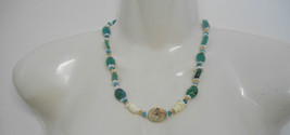 Hand Crafted by Me~Greens/Turquoise/Cream Oval Beaded Necklace w/Barrel ... - $15.00