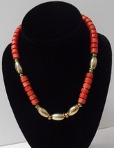 """Vintage~Red Marbled round Beads + Solid Brass oval Beads~17"""" Choker/Necklace  - $35.00"""