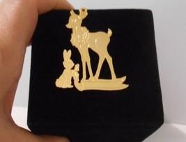 New w/o Tag~1997 Hallmark Co~Bambi & Thumper lightweight Gold Metal Orna... - $14.95