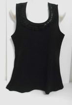 New w/o Tag~JM Collection (Macys)~Sz L*~Black~Slvless Ruffled/Beaded Cotton Top - $9.95