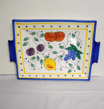 New w/o Tag~Hand Painted Fruit~Large Glazed Ceramic Tray/Platter w/Handles - $42.00