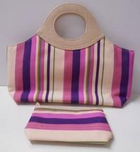 New w/o Tag~Estee Lauder Set~Striped Canvas Hand Bag/Pktbk/Purse + Zip P... - $10.95