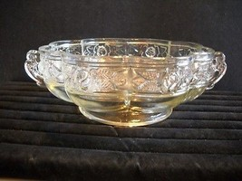 Vintage/New w/o Tag~Jeannette~Clear Glass Bowl w/Aztec Rose Design & 2 H... - $24.95
