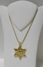 """New w/o Tags~1"""" Gold Metal Jewish Star Pendant w/Jerusalem~Adj Gold Plt ... - $18.00"""