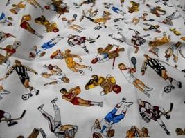 "Vintage 1980's~Robert Kaufman Fabric~100% Cotton~Male Sports Figures~30""... - $6.00"