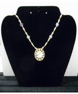"""Hand Crafted~20"""" Gold/Clear Iridescent Beaded Necklace w/1.25"""" Matching ... - $12.00"""