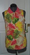 Palm Harbour Knit Top Shirt Size S Stretch Yellow Pink Green Floral Nwt - $14.99