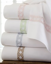 Sferra Marcus Cane White King Sheet Set 4 PC Green Embroidery Cotton Sat... - $295.00