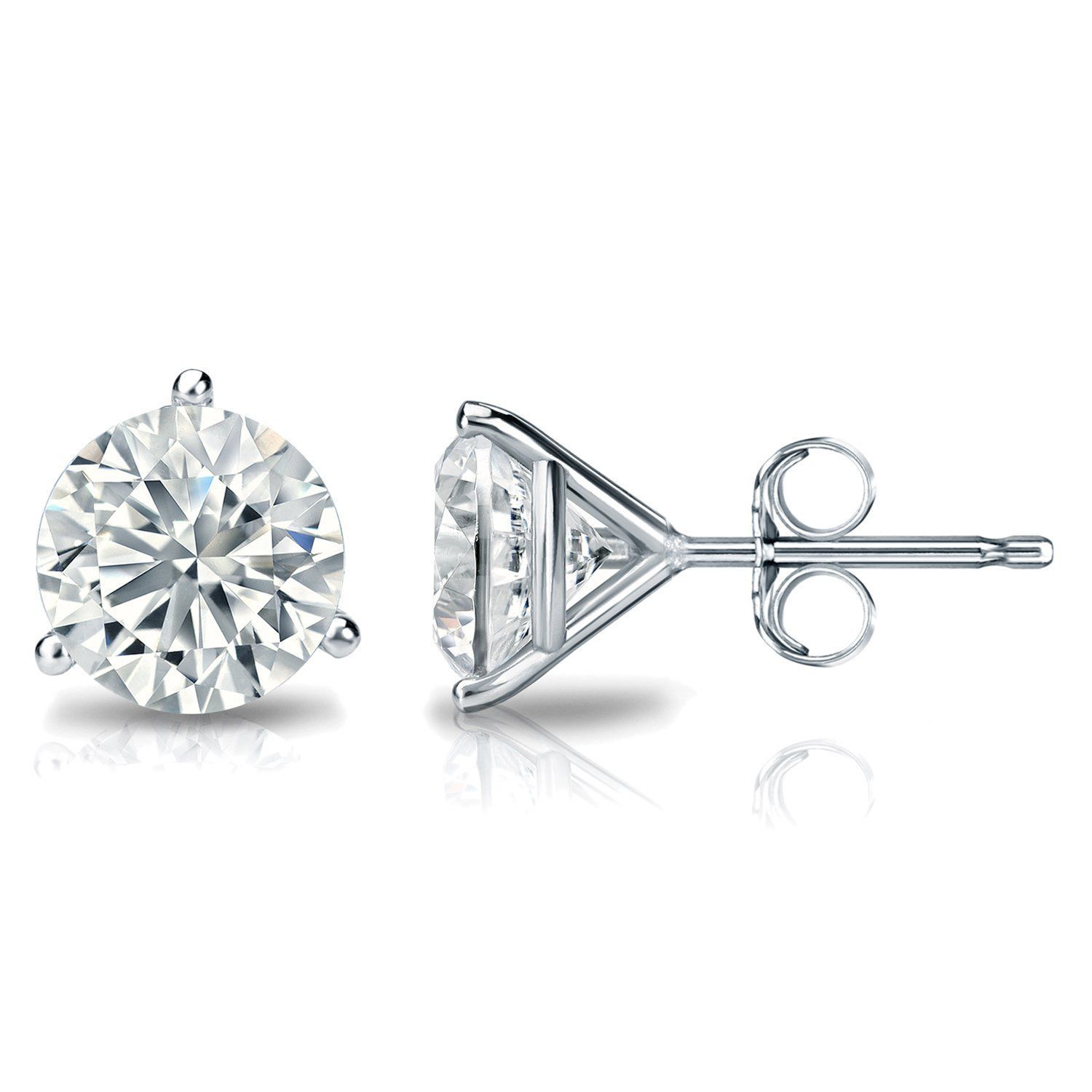 1.25CT Round Solid 18K White Gold Brilliant Cut Martini PushBack Stud Earrings