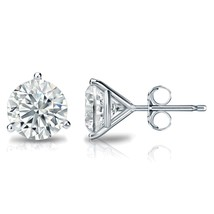 1.25CT Round Solid 18K White Gold Brilliant Cut Martini PushBack Stud Ea... - $137.60