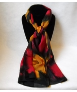 Hand Painted Silk Scarf Gold Black Red Oblong W... - $44.00